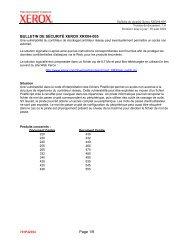Page 1/9 BULLETIN DE SÉCURITÉ XEROX XRX04-005
