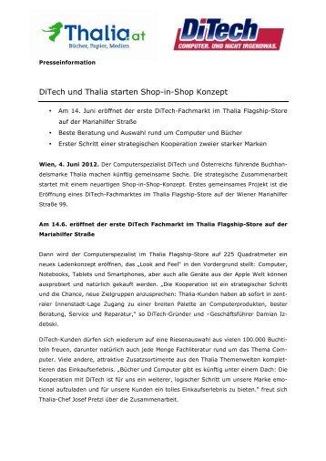 DiTech und Thalia starten Shop-in-Shop Konzept