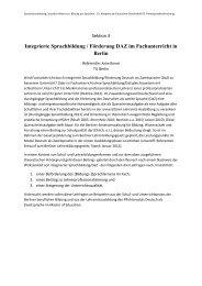 Integrierte Sprachbildung / Förderung DAZ im Fachunterricht in Berlin