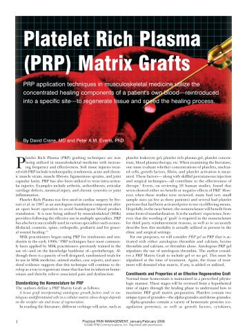 Platelet Rich Plasma (PRP) Matrix Grafts - Prolotherapy