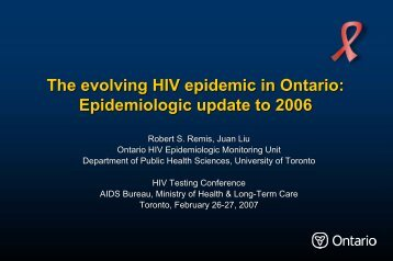 The evolving HIV epidemic in Ontario: Epidemiologic update to 2006
