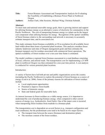 1 Title: Forest Biomass Assessment and Transportation Analysis for ...