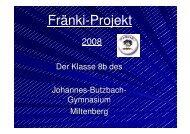 Fränki-Projekt - Johannes-Butzbach-Gymnasium Miltenberg