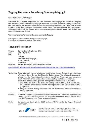 Tagung Netzwerk Forschung Sonderpädagogik - und ...