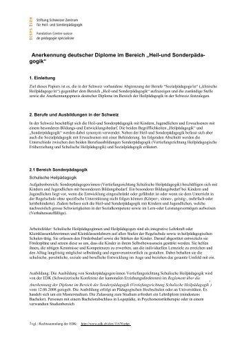 Papier - und Sonderpädagogik SZH