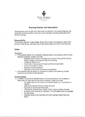 the perse evening cleaner job description the perse school - Window Cleaner Job Description