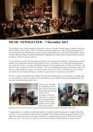 MUSIC NEWSLETTER – 7 December 2012
