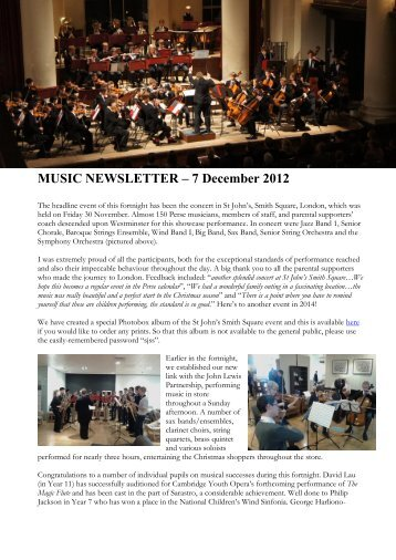 MUSIC NEWSLETTER – 7 December 2012