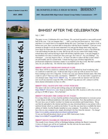 Newsletter in Adobe (pdf) - BHHS57