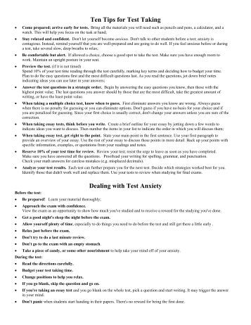 essay on test anxiety Effects of academic anxiety on the performance of students with and without learning disablities and how students can cope with swan and howell (1996) conducted a study to determine how test anxiety affects students with learning disabilities and behavior disorders in this study.
