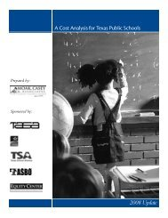 A Cost Analysis for Texas Public Schools: 2008 Update