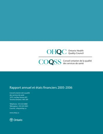 View Rapport annuel 2005/2006 (PDF, 180KB) - Health Quality ...