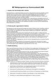 IBF Wahlprogramm zur Kommunalwahl 2008