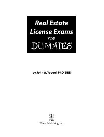 Real Estate License Exams DUMmIES‰ - first saint properties, inc.