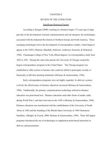 CHAPTER II REVIEW OF THE LITERATURE ... - DW Brooks Site