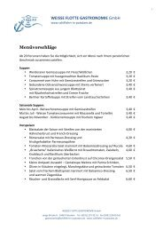 Menüvorschläge - Schiffahrt in Potsdam