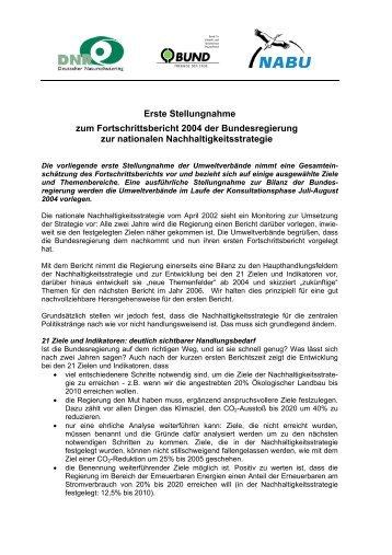 Stellungnahme zum Entwurf Fortschrittsbericht - Nachhaltigkeits ...
