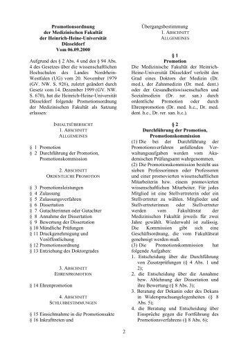 Promotionsordnung der HHU vom 06.09.2000 - MedRSD - Heinrich ...