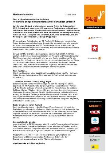 slowUp Pressetext Saisonstart 2013