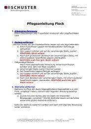 Pflegeanleitung Flock - Schuster Beflockung