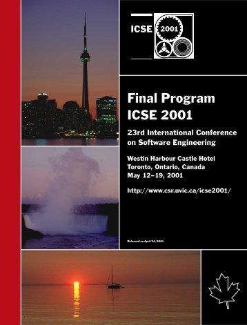 ICSE 2001 Final Program - International Conference on Software ...