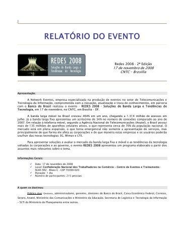RELATÓRIO DO EVENTO - Network Eventos