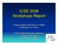 ICSE 2008 Workshops Report - International Conference on ...