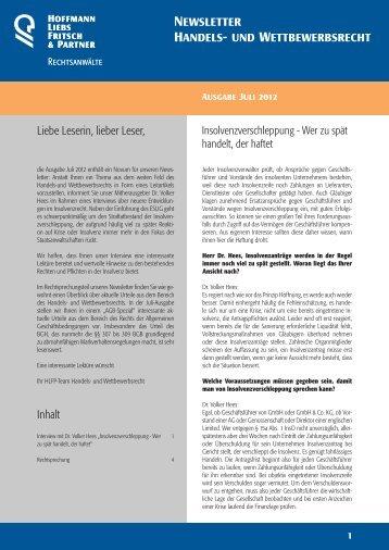 Newsletter Handels- und Wettbewerbsrecht - HLFP
