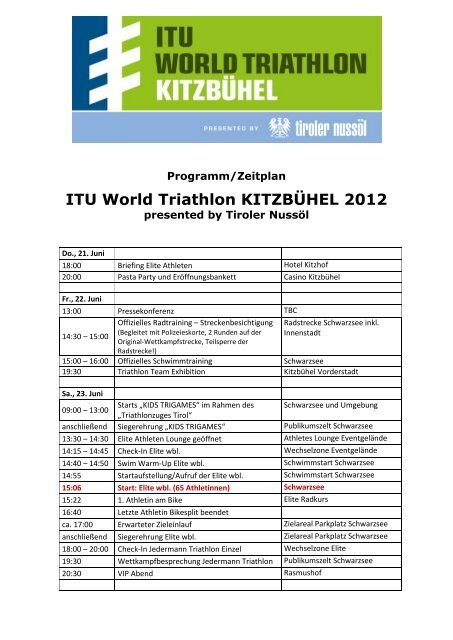 ITU World Triathlon KITZBÜHEL 2012 - ITU World Triathlon Kitzbuehel