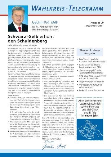 Wahlkreistelegramm Nr. 29 - Joachim Poß