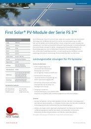 First Solar® PV-Module der Serie FS 3™ - Gehrlicher Solar AG