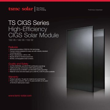 TS CIGS Series High-Efficiency CIGS Solar Module - tsmc solar