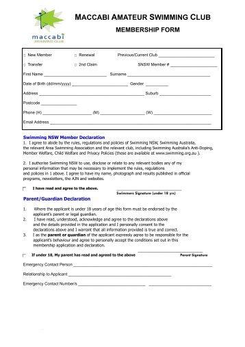 MASC membership form - Annual 2013 - Maccabi Australia
