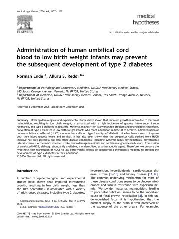 Administration of human umbilical cord blood to low birth weight ...