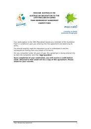 Team Membership Agreement - Maccabi Australia