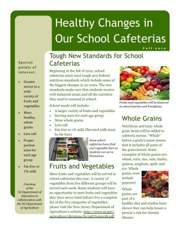 Standards for School Cafeterias - State of New Jersey
