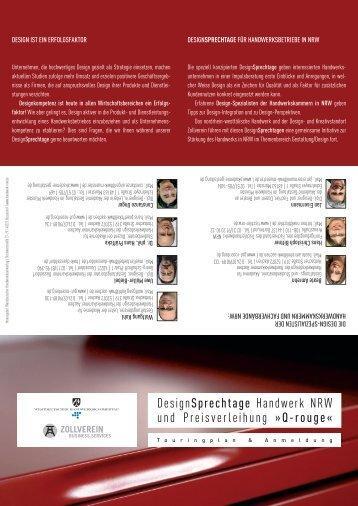 """DesignSprechtage Handwerk NRW"""" (Flyer) - Akademie für Gestaltung"""