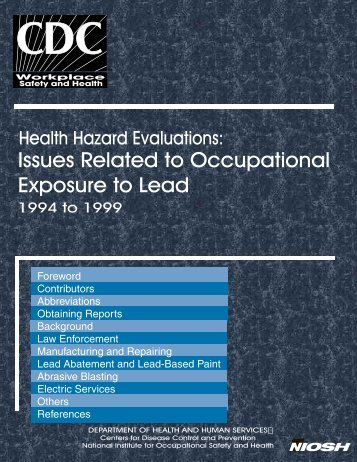 Health Hazard Evaluations: Occupational Exposure to Lead