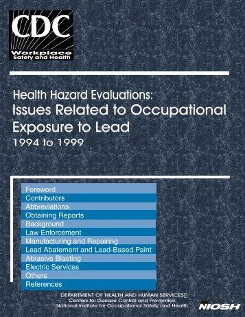 Health Hazard Evaluations: Occupational Exposure to Lead