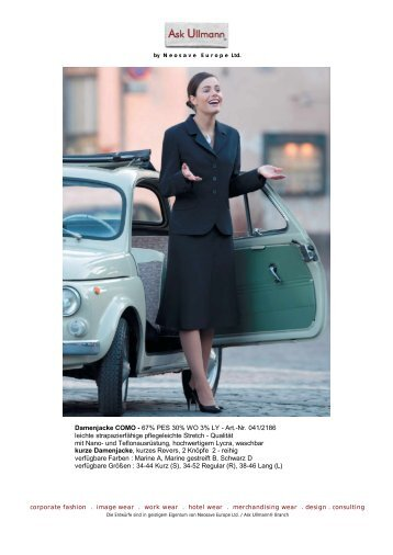 Damenjacke COMO - 67% PES 30% WO 3% LY - Art ... - Ask Ullmann