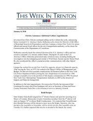 January 8, 2010 Christie Announces Additional Cabinet ...