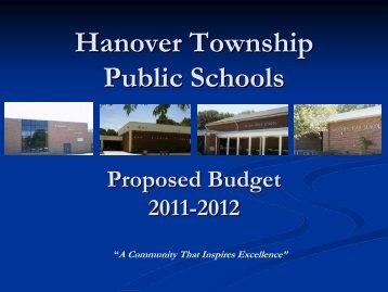 Hanover Township Public Schools Preliminary Budget 2006-2007