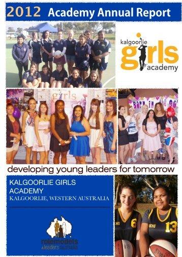 KGA Annual Report Dec 2012 - Kalgoorlie Girls Academy