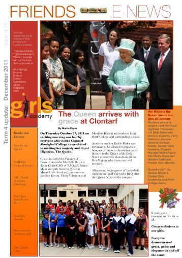 Friends enewsletter edition #15 Dec 2011 - Girls Academy