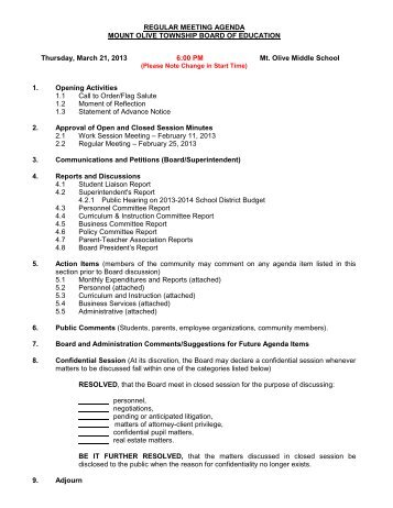 regular meeting agenda - Mount Olive Township School District