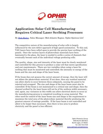 Application: Solar Cell Manufacturing Requires Critical Laser