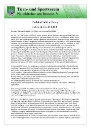 Fußball Jahresbericht 2012 - TSV Neunkirchen am Brand
