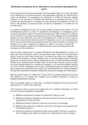 Déclaration européenne sur les alternatives à la castration