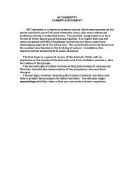 AP CHEMISTRY SUMMER ASSIGNMENT AP Chemistry is a ...