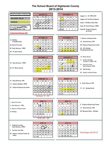 2013-2014 Calendar - The School Board of Highlands County